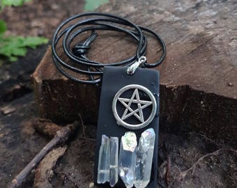 Regenbogenquartz Pentagram necklace