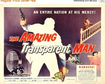 Summer Sale The Amazing Transparent Man Movie POSTER (1960) Black and white/Thriller