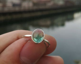 Cute Watermelon Tourmaline Ring Handmade & Silver