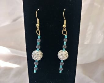 White pave ball drop earrings