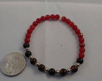 Red tigers eye beaded bracelet, beaded jewelry, stretch bracelet