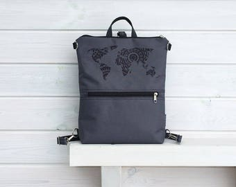 GreyWaterproof Backpack, Vegan Solid Rucksack, Minimalist Water Repellent Backpack, Black Grey Crossbody Bag, Macbook Backpack