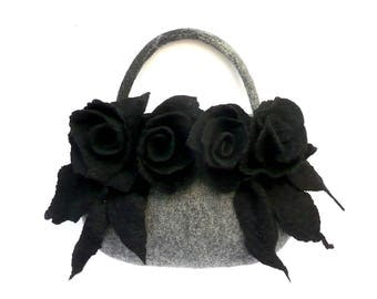 Felt bag, Felted bag, felted handbag, Felt Bags, Grey Bag, Felt Purse,  flower bag handbag art wet felted bag boho roses,Grey Felt Bag