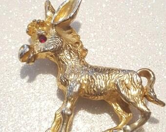 ON SALE  : Vintage Goldtone Donkey Pin Brooch