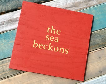 The Sea Beckons beach sign beach house style decor beach cottage coastal decor nautical decor sign beach nautical nursery