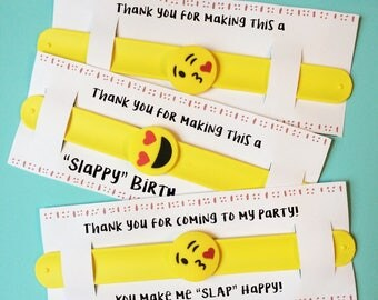 Emoji birthday party favors, emoji party favors, emoji slap bracelets, slap bracelet birthday, emoji valentines, emoji class gifts