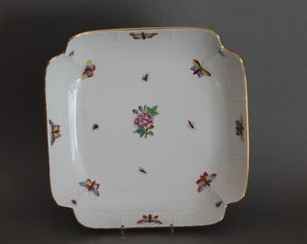 """Herend Victoria Peony 10"""" Large Square Fruit Bowl Butterflies Insects 181 LVL"""