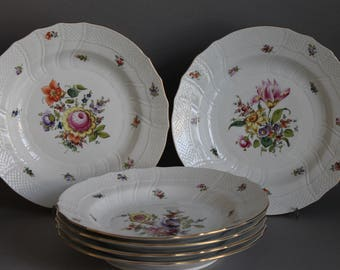 """6 pc Herend Bouquet Of Flowers Multicolor 10"""" Dinner Plates # 1525 BHR #1"""