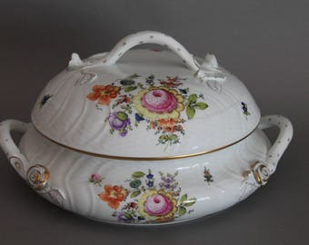 Herend Printemps Round Handled Tureen & Lid # 1031 BT Bouquet Of Flowers