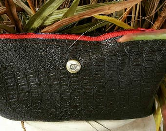 Black Crocodile Clutch