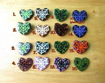 Halloween Heart Brooch or Pendant - Spider Webs