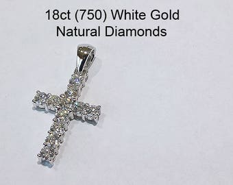 18ct 18K 750 White Gold Natural Round Brilliant Cut Diamond Crucifix Cross Pendant - DS3