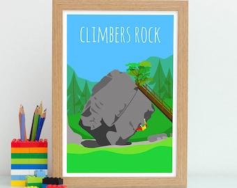 Rock Climbing Print, Climbers Rock, Climbing And Bouldering, Climbing Gift, Rock Climber Gifts, Adventure Wall Art, Gift For Outdoor Lover