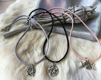 Witch Pentacle Charm Chokers