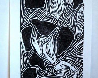 Abstract Woodcut Print