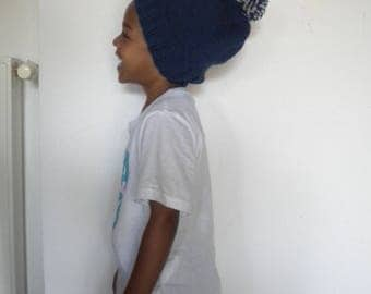Hat for boy or girl enTWEED color blue