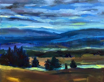PAINTING, Original Art, Handmade, Landscape, OIL, Oregon, 6x6 inches