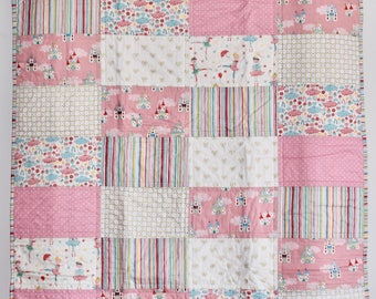 SHIPS TOMORROW! SALE Little Ballerina quilt, castles, shabby chic, baby girl nursery, gold and pink, stripes, pink nursery