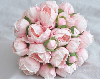 Real Touch Pink Peony Bridal Bouquet Artificial Peony Flower Bouquet, bridal bouquets, romantic bridesmaid bouquets