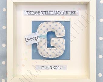 Fabric letter in frame, personalised, initial, name, baby room, nursery, baby gift, baby shower, padded letters, wall art, home and living,