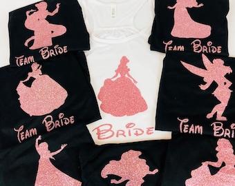 Disney Princess Bridal Party Set, Disney Bridesmaids Shirts, Disney Bachelorette Shirts, Matching Disney Bridal Party, Disney Wedding,