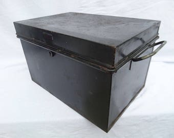 "Strong Box, Industrial Black Metal Storage Box, W.F.H. Clerkenwell, 19th Century, Made in England, Rustic Aged Patina, 14.25"" x 10"" x 8.75"""