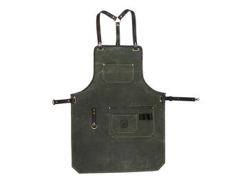 Olive waxed canvas and leather apron / Work apron / Mens apron / Craftsman's apron / Barber's apron / Mens gift / Grill apron