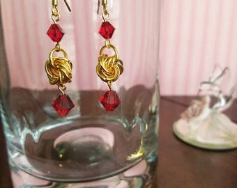 Valentine Crystals and Love Knot Earrings