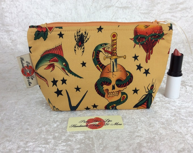 Gothic Tattoo Zip Case Bag Pouch fabric Alexander Henry design Handmade in England