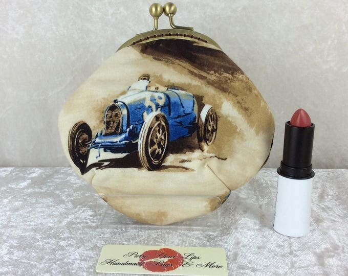 Classic Cruisers racing cars Amy frame coin purse wallet Robert Kaufman hand stitched handmade in England