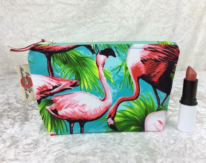 Flamingo Zip Case Bag Pouch fabric Handmade in Englandt