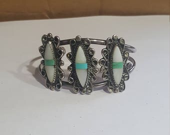 Handmade Mother of Pearl Sterling Cuff