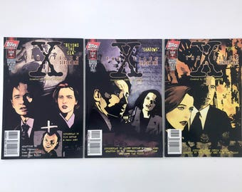 X-Files Comics, Season One, Beyond the Sea, Shadows, Fire, Agents Mulder, Scully, 3 Vintage Topps Comics, Truth is Out There