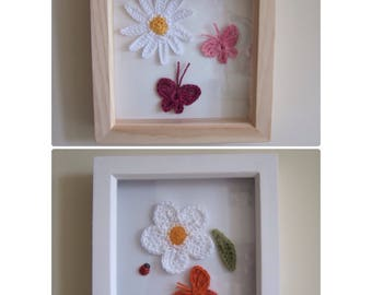 Handmade Daisy and Butterfly picture / wall hanging in white / natural wooden deep frame