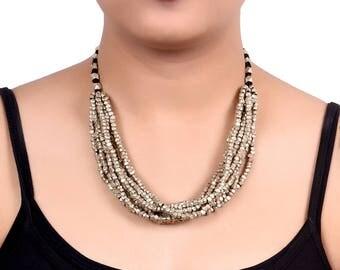 Unravel India Dhokra Black Neck piece