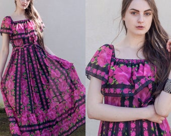 Vintage 70s 1970s pink floral off shoulder maxi dress boho bohemian peace vintage