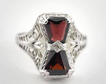 14k White Gold Dual Garnet Vintage Ring with Diamond Accent