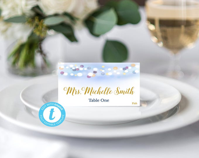 Place Card Template, Food Tent Template, Wedding Place Cards Template, Wedding Template, Cursive Script, Rustic Place Card, Template, DIY