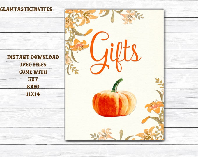 Pumpkin Favors Sign, Wedding Favors Sign, Baby Shower Favors Sign, Bridal Shower Favors Sign, Baby Shower Pumpkin Sign, Pumpkin Gifts Sign