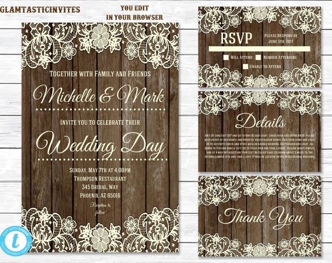 Rustic Wedding Invitation TEMPLATE, Country Wedding Invitation, wedding invitation suite, INSTANT Download, You Edit, Template, DIY