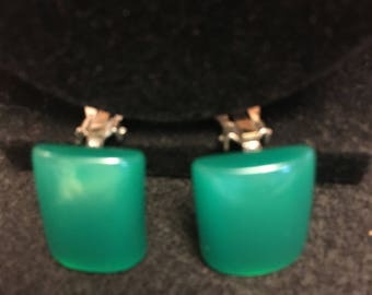 Emerald green Moonglow Lucite Earrings