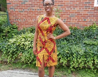 knee-length fitted Ankara dress