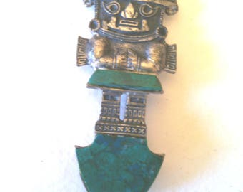 Sterling and Turquoise Aztec Brooch