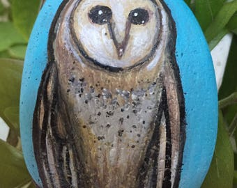 Barn Owl painting on a painted beach rock