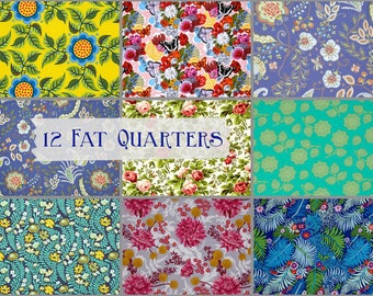 12 Fat Quarters Your Choice for Laura Heine Collage Patterns or Whatever You Like