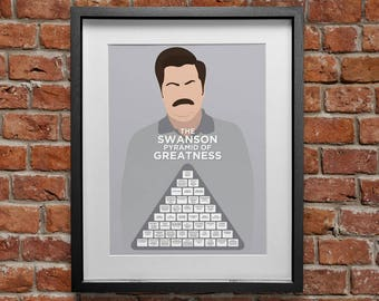 Ron Swanson poster - Pyramid of Greatness in blue, Parks & Rec, Nick Offerman