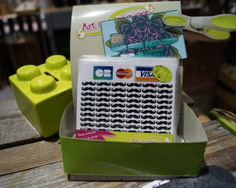 Black mustaches credit card stickers
