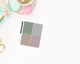 Forever and Always  Glitter Headers, planner stickers