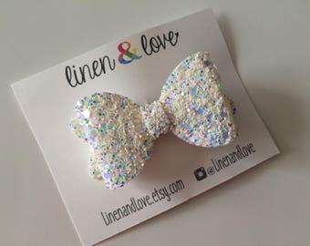 Glitter Hair Bow - Icy Glitter Bow