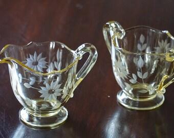 Lancaster Glass Company Vintage Jubilee Yellow/Topaz Depression Glass Sugar Bowl and Creamer/ Open sugar bowl